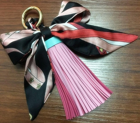 Fashion Satin Silk  leather Key ring For Women Bag Charms Accessories