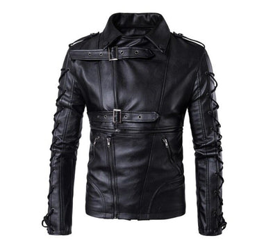 Mens slim pure high quality leather jacket coat casual fashion jackets