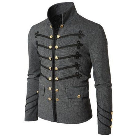 Mens Casual Military Parade Jacket Slim Fit Vintage Jackets Coat