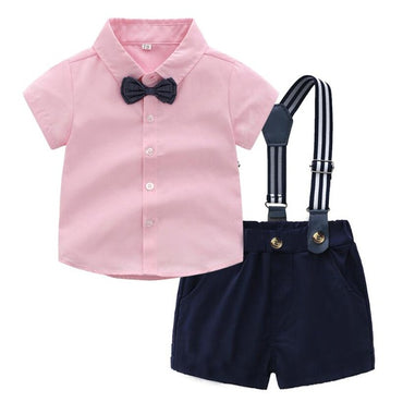 2PCS Top Baby Boy Clothing Sets Newborn Boy Clothes Shorts Sleeve Tops+Overalls