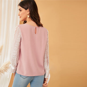 Womens Round Neck Long Sleeve Pink Spring Summer Blouse
