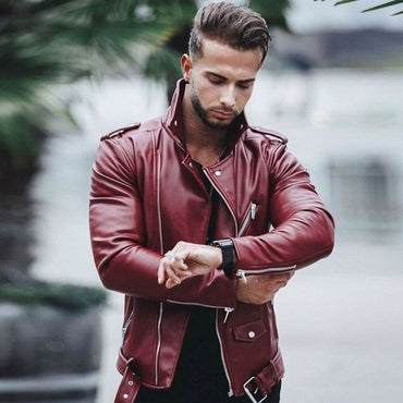 Autumn Winter Casual Zipper  Leather Jacket