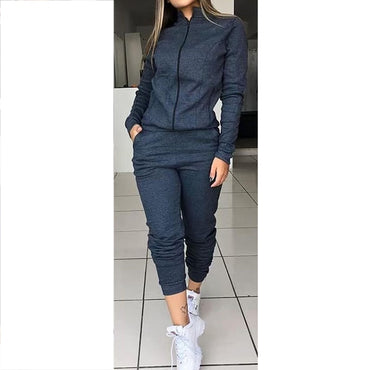 Women's Autumn Solid Color Long Sleeve Outfits Sportswear Two-piece Set