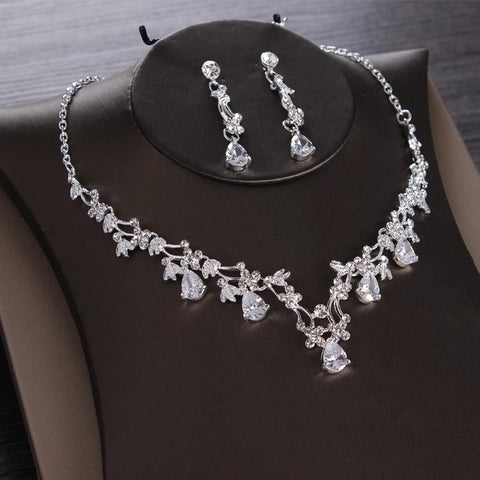 Luxury Heart Crystal Bridal Jewelry Sets Wedding Crown Tiaras Earring Choker Necklace Set