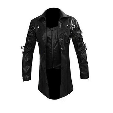 New Fashion Faux Leather Jacket Turn-down Collar Motorcycle Jackets Zipper Closure Autumn Winter Male PU Leather Coat