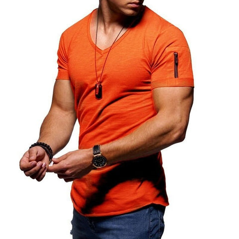 Summer Cotton Men's Gym T-shirt Casual V Neck Short Sleeve Fitness