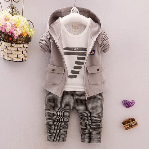 Baby Boy Clothing set Sport Suits fashion coat +T-shirt + Pants 3 pcs