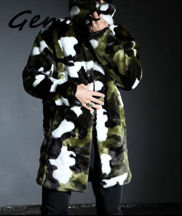 New fashion Men's Faux warm rabbit printed warm winter jacket