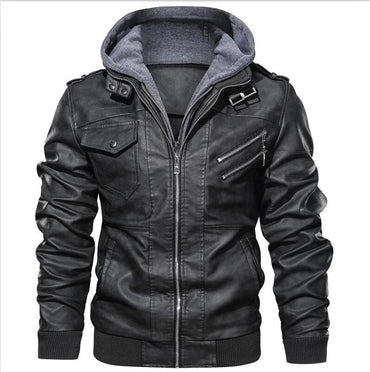 Men's Autumn Winter Leather Jacket Windbreaker Hooded PU Jackets Male Outwear Warm