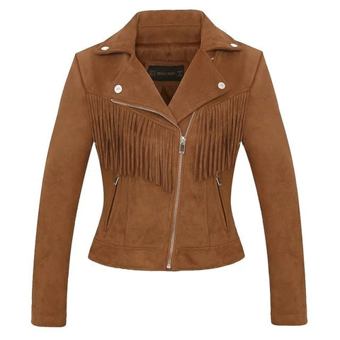 Autumn Winter Fashion Women Short Design Faux Suede Fabric Coat Slim Tassel Leather Jacket Women