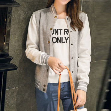 Women College Casual Jacket Girl Casual Sweatshirt Ladies Outwear