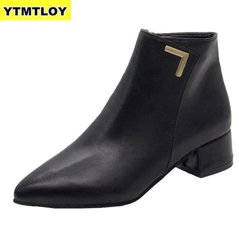 Casual Leather women Low High Heels Boots Black Red