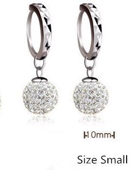 Pure silver pendant earring full rhinestone ball