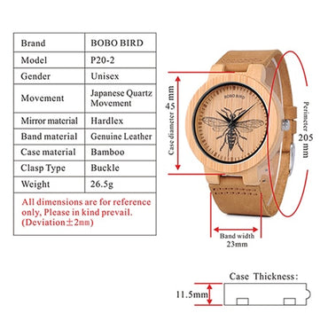 BIRD Men Wrist Watch Fashion Bamboo Quartz Watch