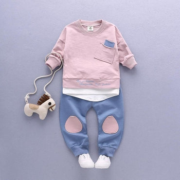 2PC Baby Boys Clothes Outfit Tops+Pants Casual Clothing Spring/Autumn Children Clothing Set Cotton