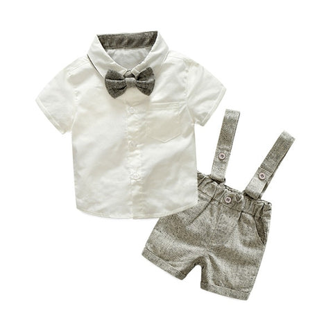 Autumn Fashion clothing Baby Suit Baby Boys Clothes Gentleman Bow Tie Rompers + Vest + pants Baby Set