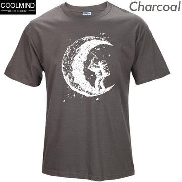 100% cotton digging moon print casual Mens O-neck T-shirts
