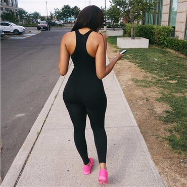 Women Solid Color Sports Yoga Set Sleeveless Bodycon Romper Jumpsuit Club Bodysuit Long Pants
