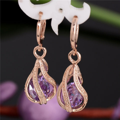 New Fashion Women/Girl's Gold Color white/pink/purple/green Dangle Earrings Jewelry