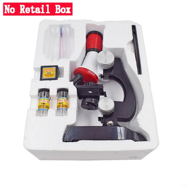 Microscope Kit Lab LED 100X-400X-1200X Home School Science Educational Toy Gift for Kids