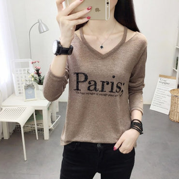 Ladies Fashion V Neck Tshirt Women Paris Letter Printed