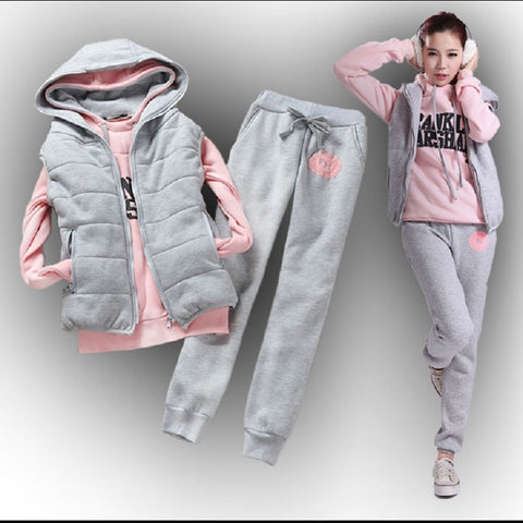 Autumn and winter Fashion women suit women's tracksuits casual set with a hood fleece sweatshirt three pieces set