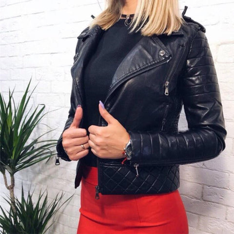 Women's Leather Jacket Motorcycle Autumn Long Sleeve Zipper Soft Leather Jackets