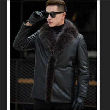 Winter Autumn men lambswool leather jacket Genuine leather coats