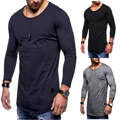 Autumn Winter Men's long-sleeved T-shirt round neck casual