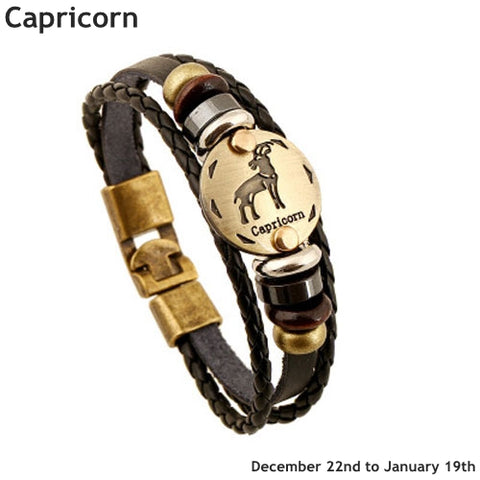 Zodiac Sign Leather Jewelry Bracelet