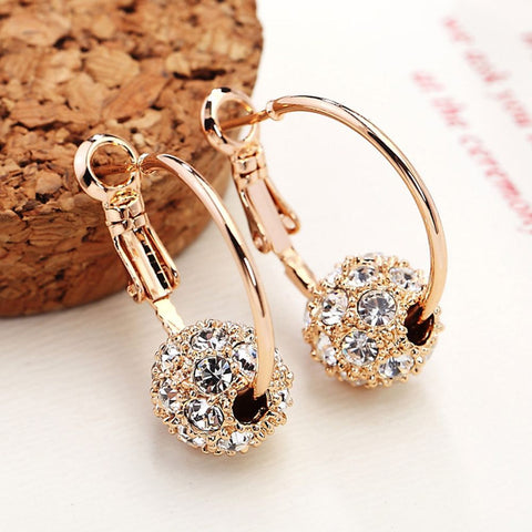 High Quality Fashion Austrian Crystal Ball Gold/Silver Earrings Earrings For Woman Party Wedding Jewelry