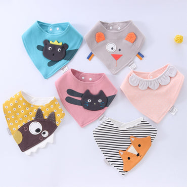 Baby Bibs Waterproof Triangle Cotton Cartoon Child - Absorbent Cloth