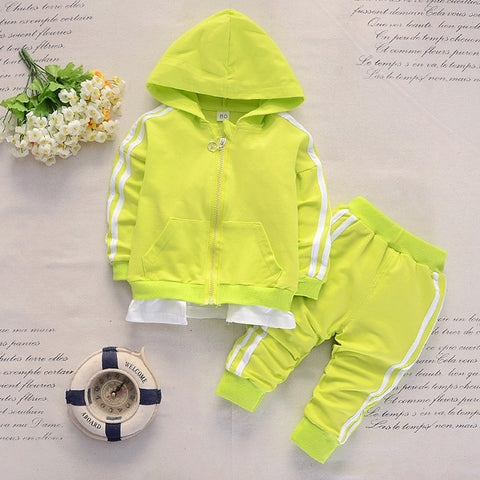 2Pcs/Sets Baby Boy Girl Casual Tracksuit Children Cotton Zipper Jacket Pants