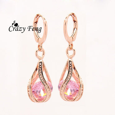 Fashion Women/Girl's  Rose  white/pink/purple/green Earrings Jewelry