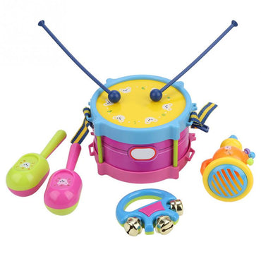 5Pcs Children Music Drum Trumpet Toy Instrument Band Kit Early Music Learning Educational Baby Kids Gift Set