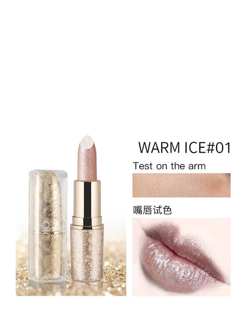 Pearl Light Snowflake Matte Lipstick 6 Color Waterproof Durable Metal Lipstick Velvet Matte Lip Gloss Makeup
