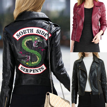 Women Leather Jackets Winter Slim Motorcycle Bomber Jacket Coats South Side Printed Black Wine Red