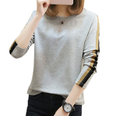 Ladies t shirt fashion o-neck long sleeve t shirt women tops cotton tee shirt