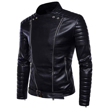 Fashion Casual Slim Men Leather Jacket Multi-Zipper Design