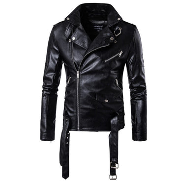 New design Bomber Leather Jacket Men Autumn winter Turn-down Collar Slim fit Male Leather Jacket Coats