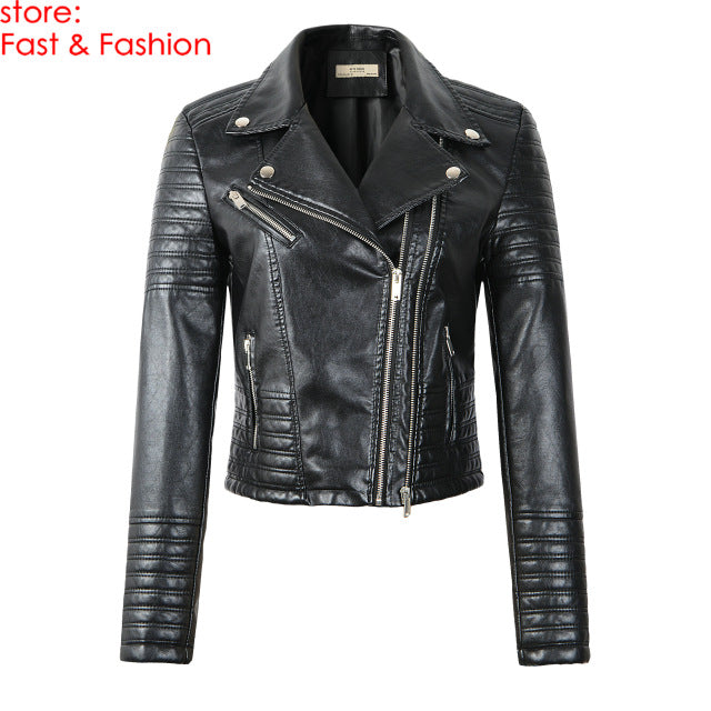 Women Smooth Faux Leather Jackets Ladies Long Sleeve Autumn Winter Black Leather Jacket