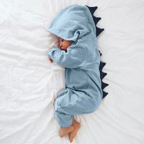 Baby Boy Girl 3D Dinosaur Costume Solid Rompers warm spring autumn cotton romper Hooded
