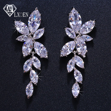 Marquise Cut Flower Crystal Long Drop Earrings for Women Shiny Leaf Bridal Wedding Jewelry