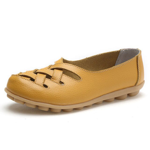 Women flat leather shoes
