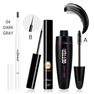 Eye Makeup Set Eyebrow Pencil 3D Fiber Mascara Eyeflash Waterproof Liquid Eyeliner Pencil Beauty Makeup
