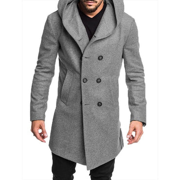 Mens Trench Coat Jacket Spring Autumn Mens Casual Solid Color Woolen Trench Coat for Men Clothing