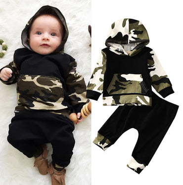 2Pcs Outfits Baby Set Clothes 0-3Y Casual Toddler Baby Kids Boy Hooded Tops Pants