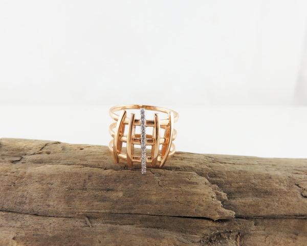 Abstract diamond cocktail ring