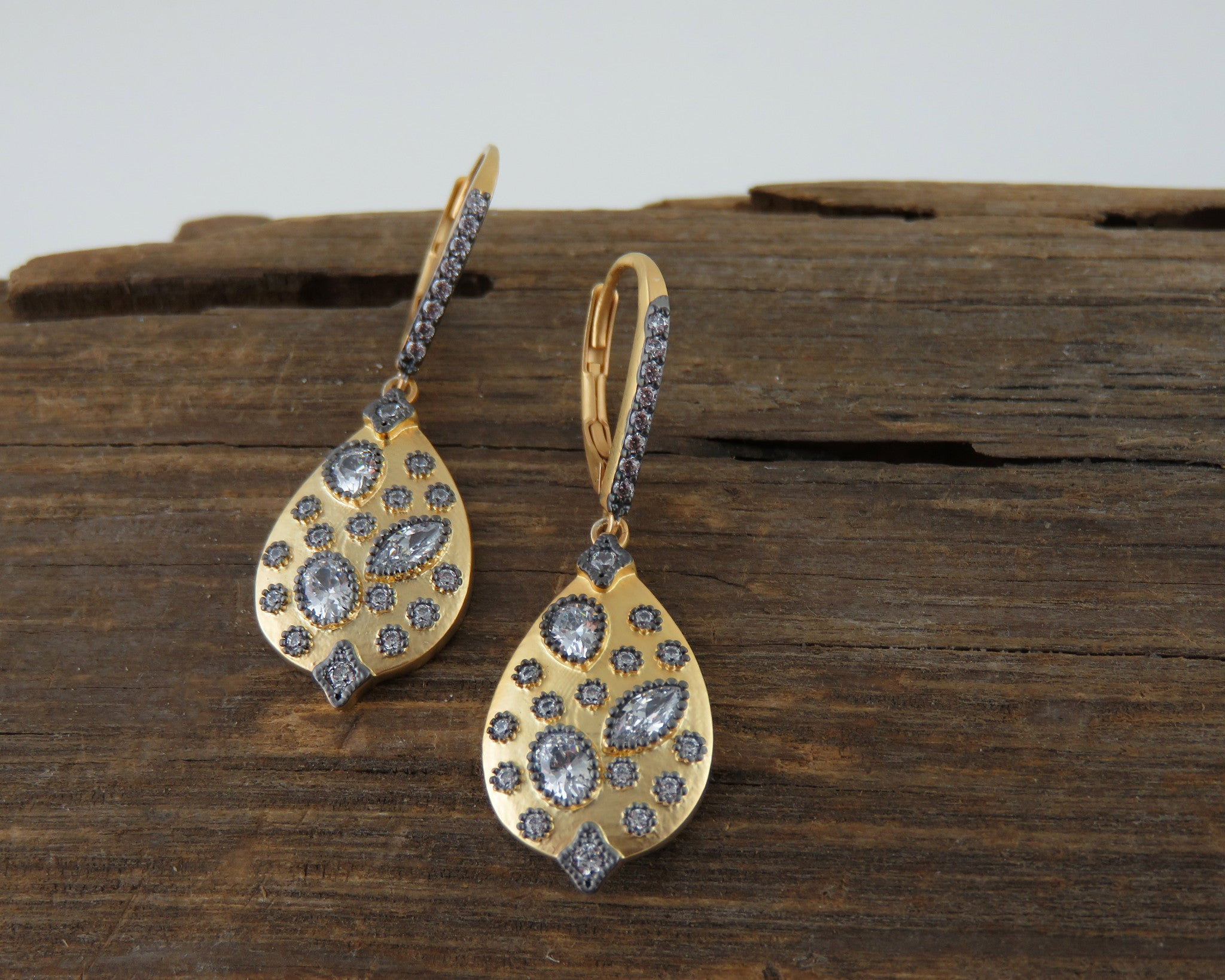 Gold and black cubic zirconia earrings