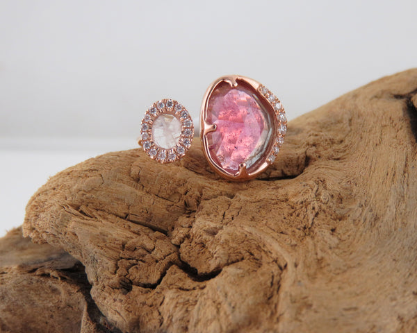 Tourmaline and moonstone ring